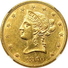 Image of 1860 $10 NGC/CAC AU55