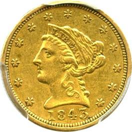 Image of 1843 $2 1/2 PCGS/CAC AU50