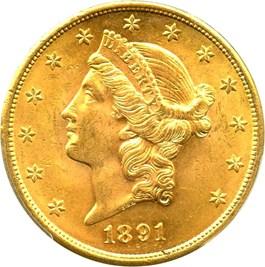 Image of 1891-S $20 PCGS MS62