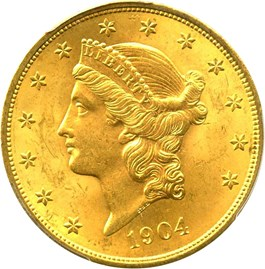 Image of 1904 $20 PCGS/CAC MS64+