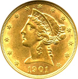 Image of 1901 $5 ANACS AU58 - No Reserve!