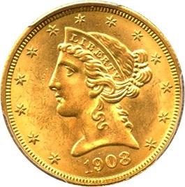 Image of 1908 Liberty $5 PCGS MS64