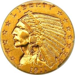 Image of 1911-D $2 1/2 PCGS AU58 (Strong D)