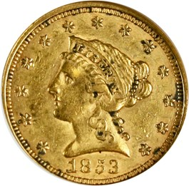 Image of 1853 $2 1/2 ANACS XF45 - No Reserve!