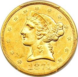 Image of 1874-S $5 PCGS AU55