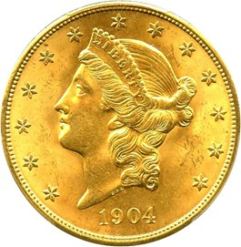 Image of 1904 $20 PCGS MS65