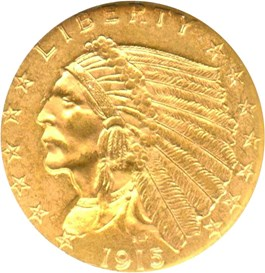 Image of 1915 $2 1/2 NGC/CAC MS63