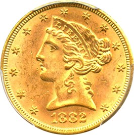Image of 1882 $5 PCGS MS64