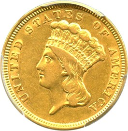 Image of 1854 $3 PCGS AU50