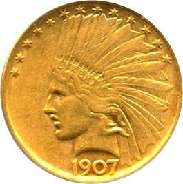 Image of 1907 $10 PCGS AU53 (No Motto)- No Reserve!