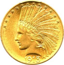 Image of 1913 $10 PCGS/CAC AU58