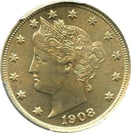 Image of 1908 5c PCGS/CAC MS65