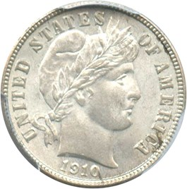 Image of 1910 10c PCGS/CAC MS65