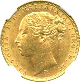 Image of Australia: 1880-M St.George Gold Sovereign NGC MS61 (KM-7) .2354oz Gold