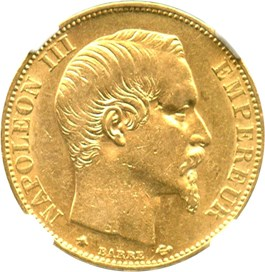 Image of France: 1860-BB 20 Gold Franc NGC AU55 (KM-781.2) .1867oz Gold