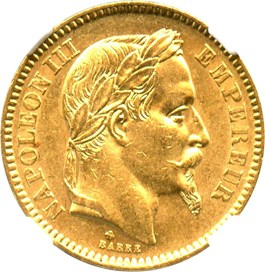 Image of France: 1865-BB 20 Gold Franc NGC AU58 (KM-801.2) .1867oz Gold
