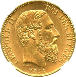 Image of Belgium: 1874 20 Gold Franc NGC MS64 (Position A, KM-37) .1867oz Gold