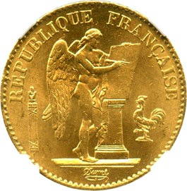 Image of France: 1877-A 20 Gold Franc NGC MS65 (KM-825) .1867oz Gold