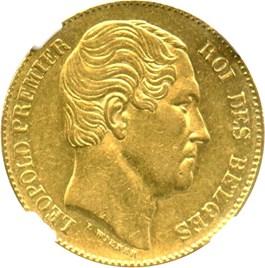 """Image of Belgium: 1865 20 Gold Franc NGC AU55 (""""L Wiener, Position B, KM-23) .1867oz Gold"""