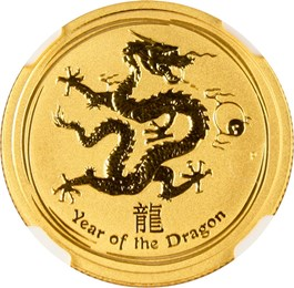Image of Australia: 2012-P Year of the Dragon Gold $25 NGC MS69 (KM-1672) .2496oz Gold