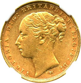 Image of Australia: 1883-M St.George Gold Sovereign NGC AU55 (KM-7) .2354oz Gold