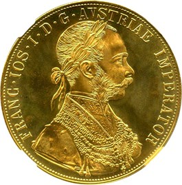 Image of Austria: 1915 Gold 4 Ducat Restrike NGC MS67 (KM-2276) .4426oz Gold - DLRC Discount!