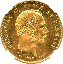 Image of Denmark: 1900 HC/VBP 20 Gold Kroner NGC MS63 (KM-791.2) .2593oz Gold