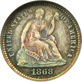 Image of 1868 H10c NGC/CAC Proof 67