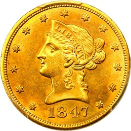 Image of 1847 $10 PCGS Secure MS62 (Simpson-Hall Collection)