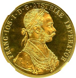 Image of Austria: 1915 Gold 4 Ducat Restrike NGC MS66 (KM-2276) .4426oz Gold