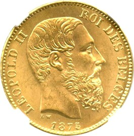 Image of Belgium: 1875 20 Gold Franc NGC MS65 (Position A, KM-37) .1867oz Gold