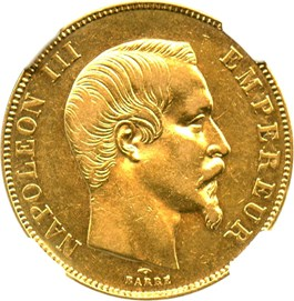 Image of France: 1857-A Gold 50 Franc NGC XF45 (KM-785.1) .4667oz Gold