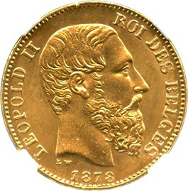 Image of Belgium: 1878 20 Gold Franc NGC MS65 (Position A, KM-37) .1867oz Gold