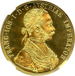 Image of Austria: 1915 Gold 4 Ducat Restrike NGC MS67 (KM-2276) .4426oz Gold - Vault Value!