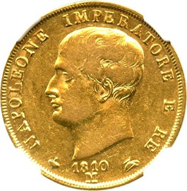 Image of Italy: 1810/09-M Gold 40 Lire NGC VF35 (Kingdom of Napoleon, KM-12) .3733oz Gold