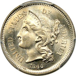 Image of 1866 3cN PCGS/CAC MS67