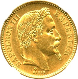 Image of France: 1862-BB 20 Gold Franc NGC AU58 (KM-801.2) .1867oz Gold