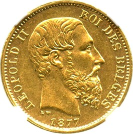 Image of Belgium: 1877 20 Gold Franc NGC AU58 (Position A, KM-37) .1867oz Gold