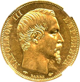 Image of France: 1859-A 20 Gold Franc NGC UNC Details (Scratches, KM-781.1) .1867oz Gold