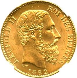 Image of Belgium: 1882 20 Gold Franc NGC MS65 (Position A, KM-37) .1867oz Gold
