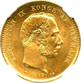 Image of Denmark: 1873 HC/CS 20 Gold Kroner NGC MS65 (KM-791.1) .2593oz Gold