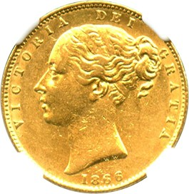 Image of Great Britain: 1866 Gold Sovereign NGC AU50 (KM-736.2) .2355oz Gold