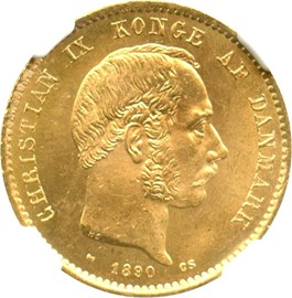 Image of Denmark: 1890 HC/CS 20 Gold Kroner NGC MS65 (KM-791.1) .2593oz Gold