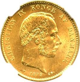 Image of Denmark: 1873 HC/CS 20 Gold Kroner NGC MS64 (KM-791.1) .2593oz Gold