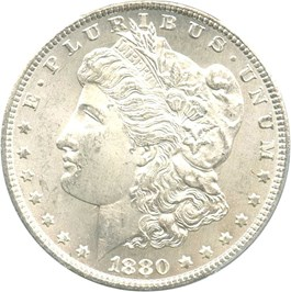 Image of 1880-CC $1 PCGS/CAC MS64 (Reverse of 1878, 8/7)