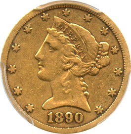 Image of 1890-CC $5 PCGS/CAC VF25