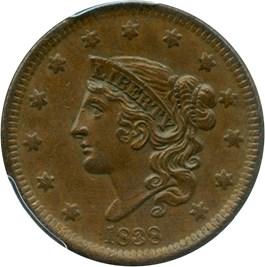 Image of 1838 1c PCGS/CAC AU58 BN