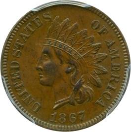 Image of 1867 1c PCGS/CAC AU58 BN