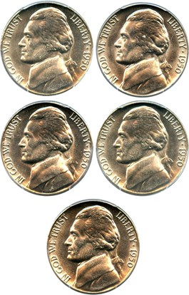 Image of Investor Lot of 1950 5c: All PCGS MS66 (5 Coins)