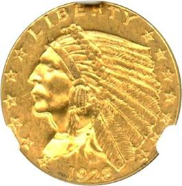 Image of 1928 $2 1/2 NGC MS62